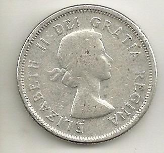 25 cents 1958 - elizabeth ii - canadá - prata