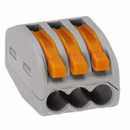 25 conector wago borne emenda para 3 fios modelo 222-413 c/1