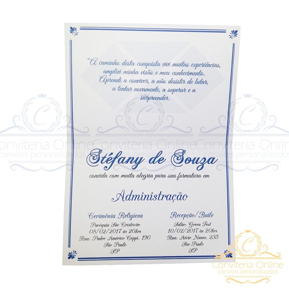 25 Convites Formatura Administração Tag Nome De Convidado R 70