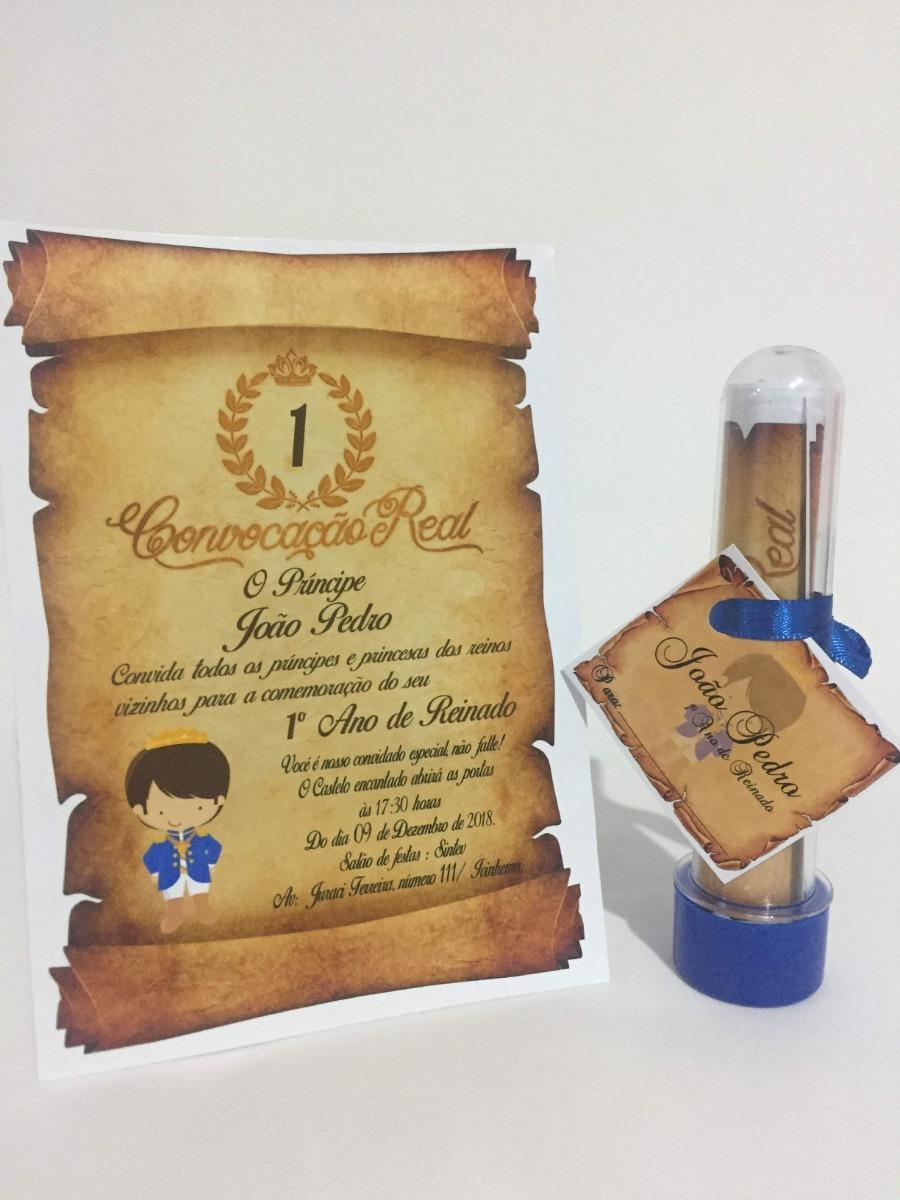 25 Convites Pergaminho Com Tubetes Príncipe - R$ 60,00 em Mercado Livre