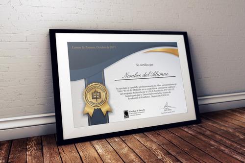 25 diplomas certificados 21x30cm papel 300gr + diseño gratis