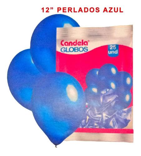 25 globos perlados 12pulgadas azul - hoy la golosineria