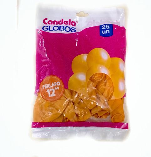 25 globos perlados 12pulgadas dorados - hoy la golosineria