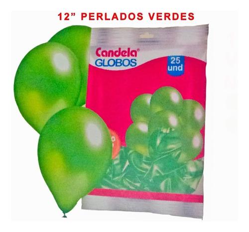 25 globos perlados 12pulgadas verde - hoy la golosineria