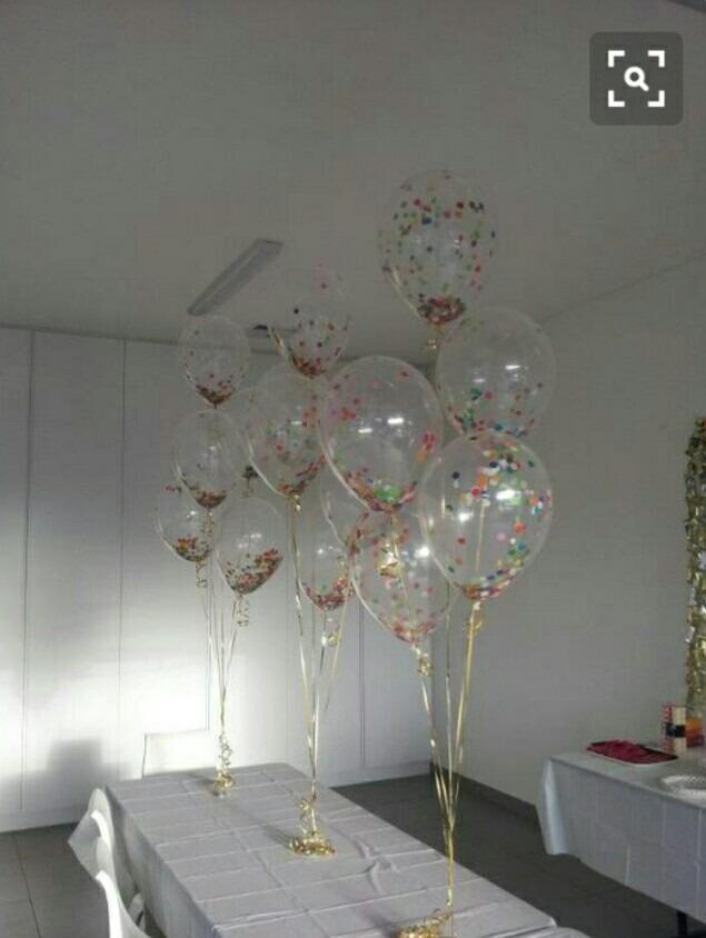 25 globos transparentes con confeti o diamantina o pompones