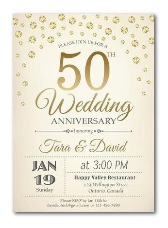 25 Invitaciones Boda 50 Aniversario