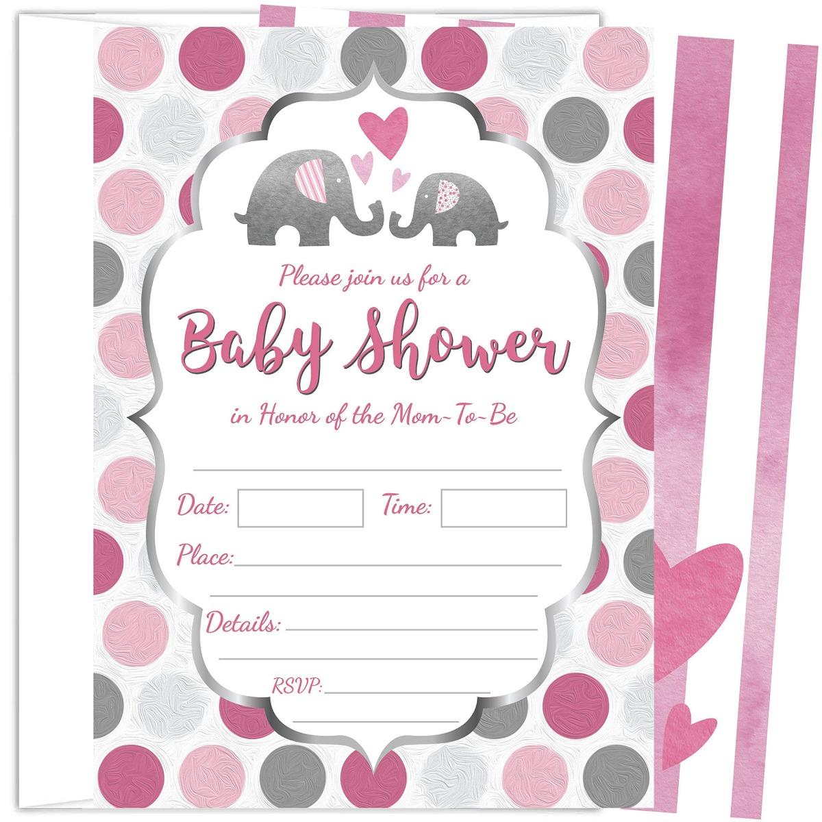 25 Invitaciones Para Baby Shower De Nina Elefante Rosa De 5
