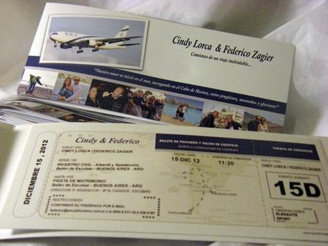 25 invitaciones pasaje avión, personalizadas!