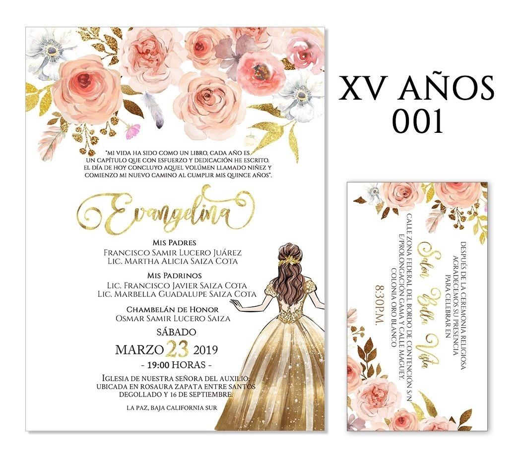 25 Invitaciones Xv Años Florales V1 Varios Colores