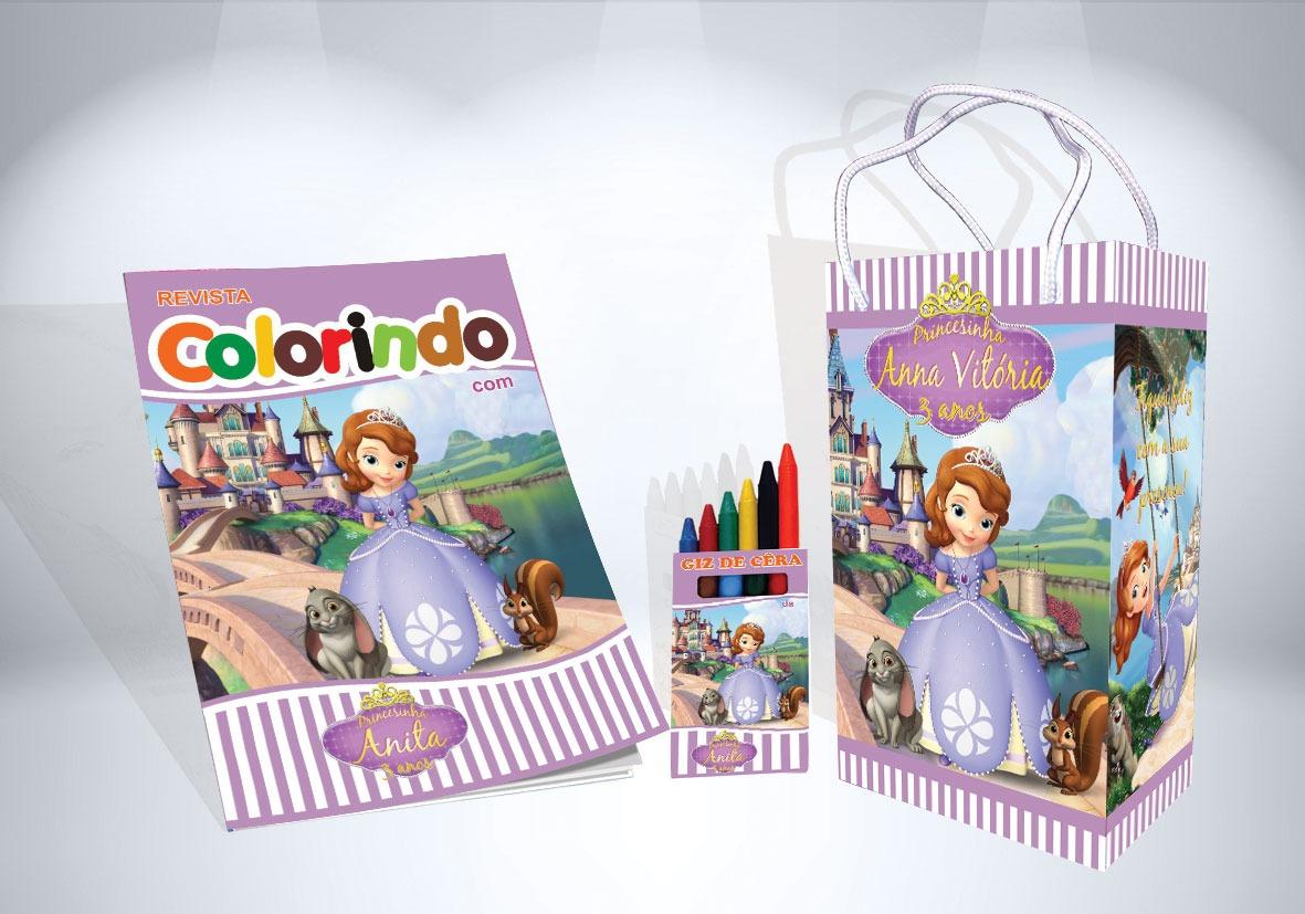 25 Kit Colorir Princesa Sofia Revista Sacola Giz Lembranca R