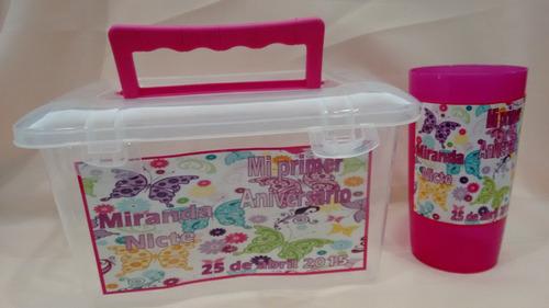 25 loncheras personalizadas +vaso paquete fiestas cumpleaños
