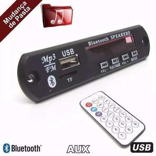 25 placa p/ amplificador - modulo mp3 bluetooth muda pasta