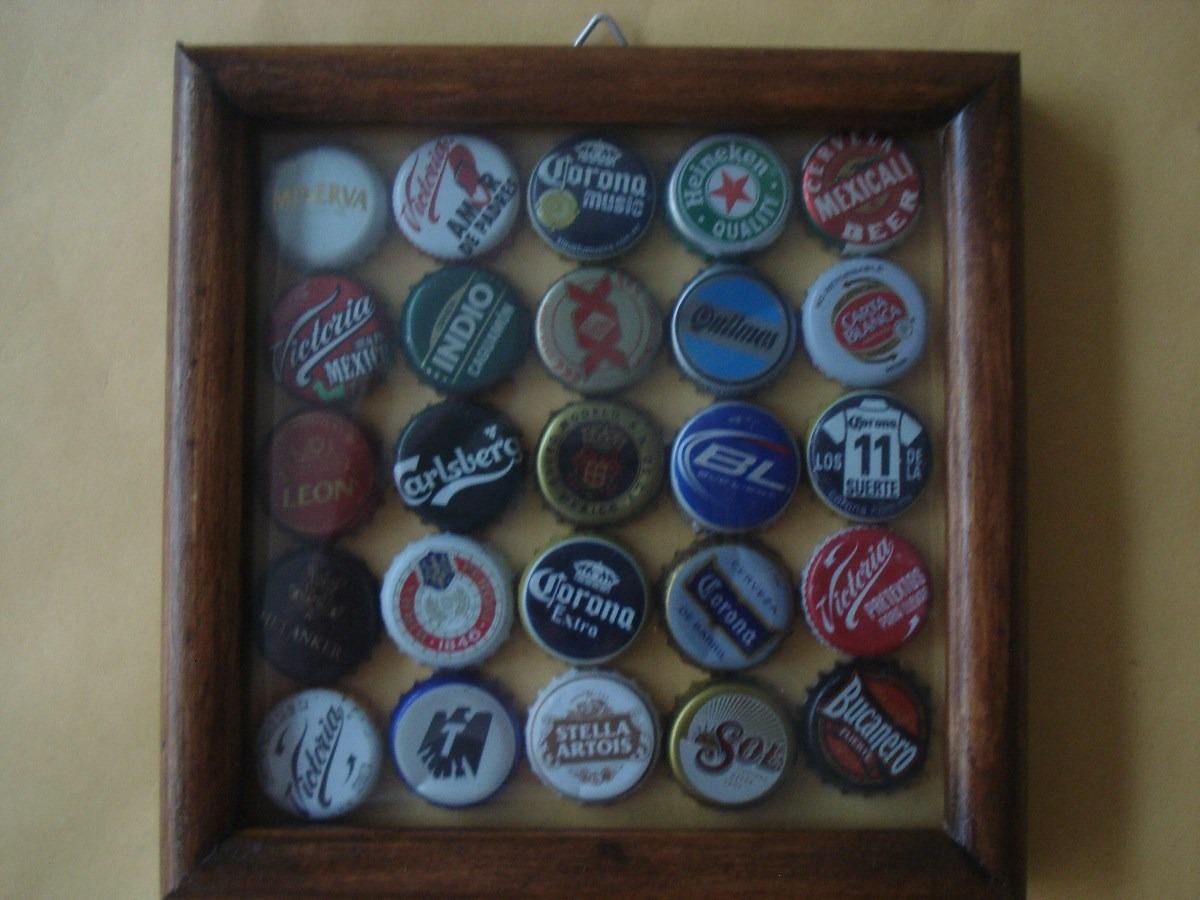 25 Tapas De Cerveza En Marco De Madera Con Vidrio - $ 300.00 en ...