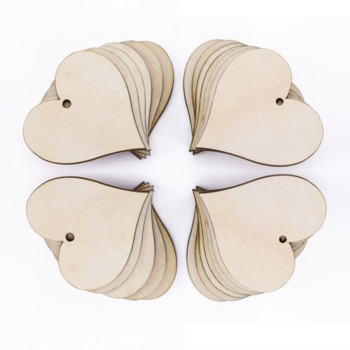 25 x corazón mini de madera forma adorno regalo etiquetas et