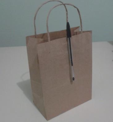 250 sacolas papel kraft personalizadas 16x21x9