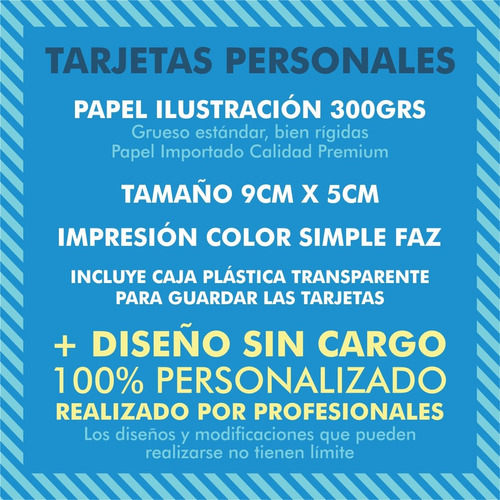 250 tarjetas personales bifaz 300gr + diseño lomas de zamora