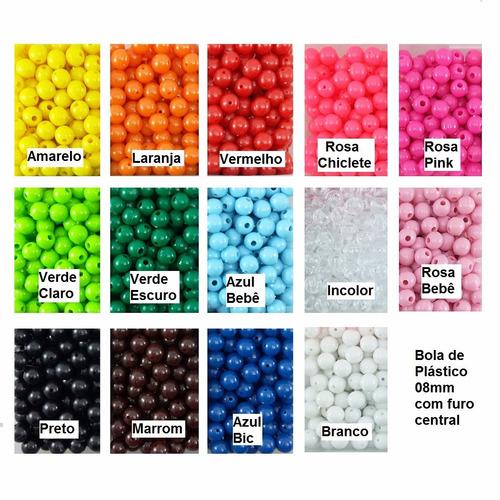 250 unid micanga bola conta de plastico 8mm várias cores