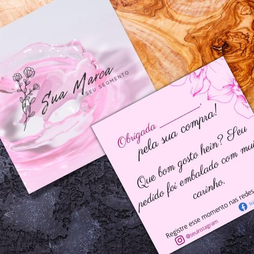 250un - cartao agradecimento ao cliente, personalizado, logo