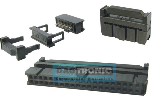 250x conector idc femea latch 16 vias para cabo flat