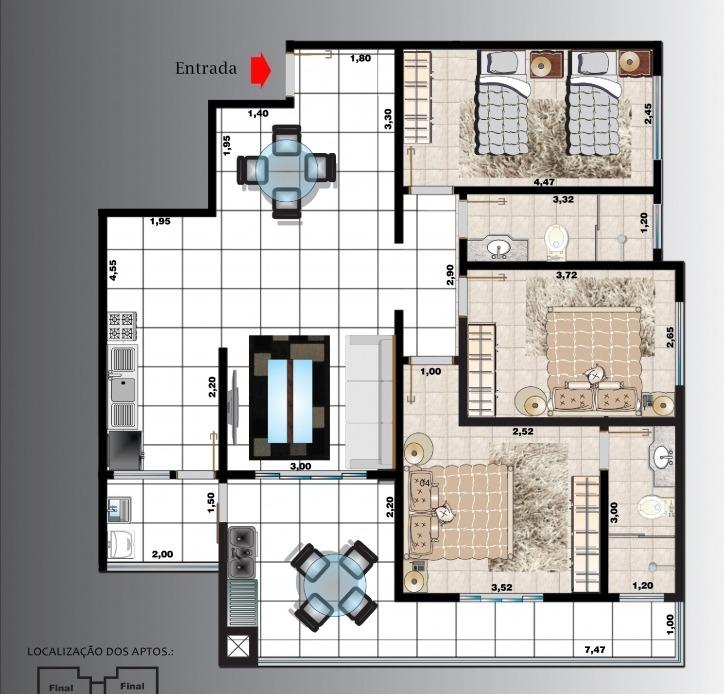 2520-apartamento de frente ao mar!!