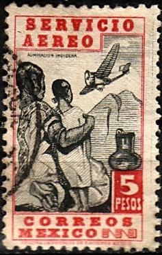 2568 mot mexicanos scott# c140 negro-rojo 5pesos usado 1940