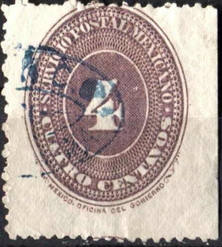 2592 clasico scott #177 numeral lila 1° e 4c usado 1886