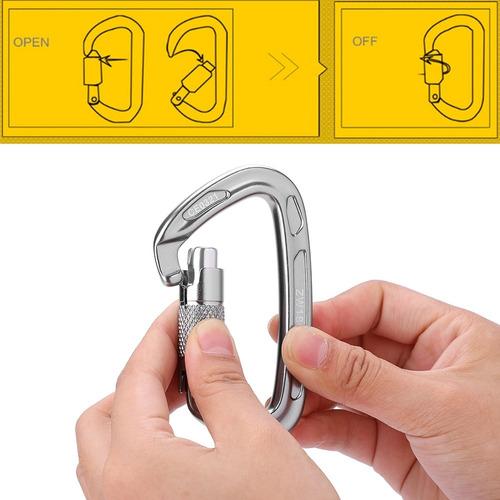 25kn safety lock d hebilla equipo de mosquetón de rescate de