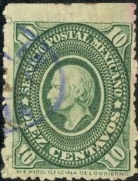 2655 clásico hidalgo verde seco scott #156 10c usado 1884