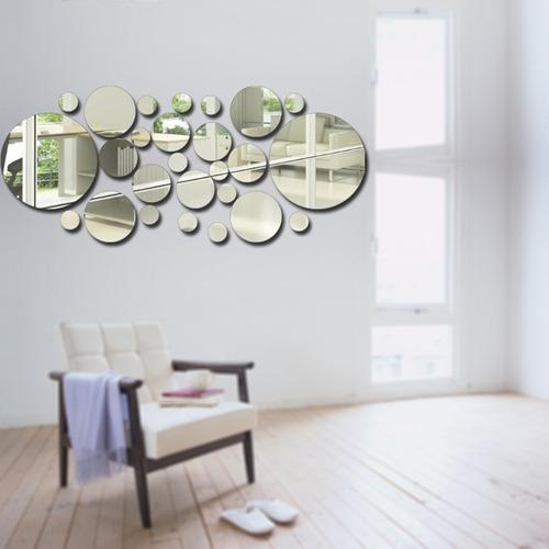 26pcs / set acrílico polca punto pared espejo pegatinas de h
