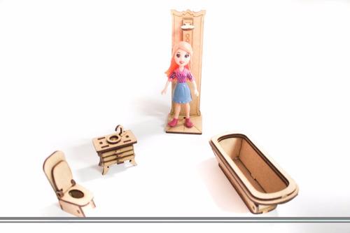 27 mini móveis p/ casa casinha de boneca polly mdf cru