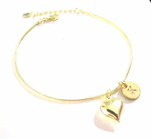 27 pulseiras coração com inicial folheada a ouro lindissima.