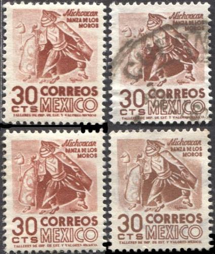 2732 arqui 3° e  placa #1 tonos 4 s 30c nuevos usados 1956