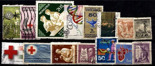 2747 cruz roja dif países lotecito 15 sellos usados modernos