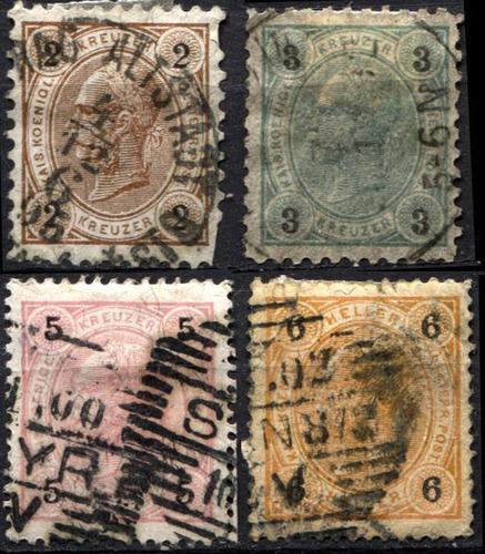 2774 austria emperador franz j 5 sellos usados 1899