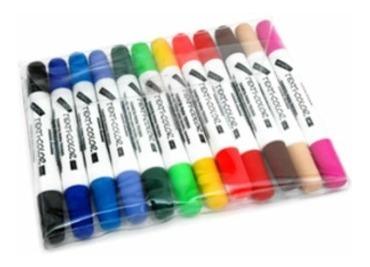28 caneta tecido 2 pontas magiccolor 24 + 2 preta + 2 branca