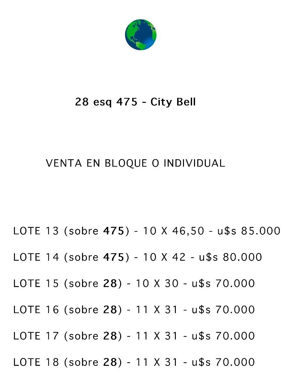 28 y 475 city bell -lotes 10 x 45 / 11 x 31 - todos los serv