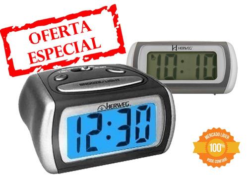2916 relógio despertador digital luz noturna led azul herweg