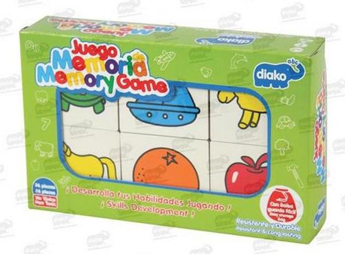 2922-h juego de memoria madera c bolsa tela  28 piezas diako