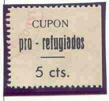 2944 espanha - cupom da guerra civil pró refugiados, novo