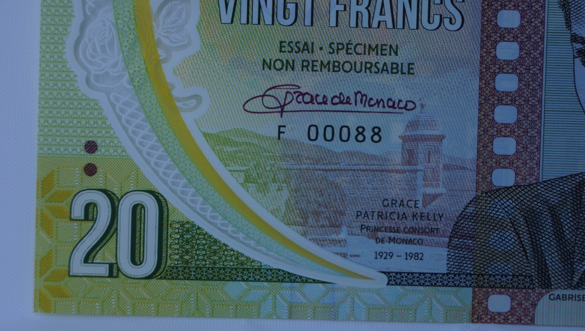 Monaco 20 Francs 2018 Private Issue Clear Window Polymer /> Grace Kelly