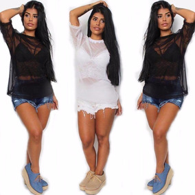 f5734ef829 Kit 2blusa Camisa Tule Transparente Moda Instagram Blogueira