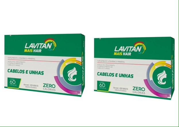 705fadf380 2cx Lavitan Mais Hair Vitamina Para Cabelo 120 Cápsulas - R  56