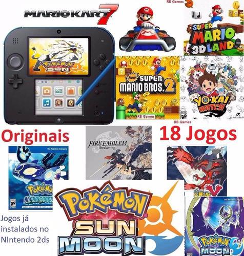 2ds + 18 jogos originais pokémon sun mario roda 3ds