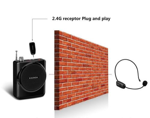 2en1 amplificador de voz inalámbrico auriculares micrófono