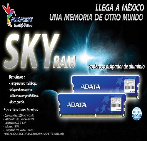 2gb memoria ram adata sky con disipador garantia de por vida