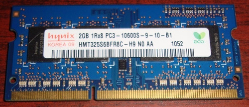 2gb memoria ram ddr3 hynix pc3-10600s laptop sodimm nueva