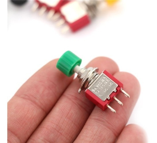 2PCS 3pin Pulsador Momentáneo Interruptor PS-102 TB DS612 1NO 1NC
