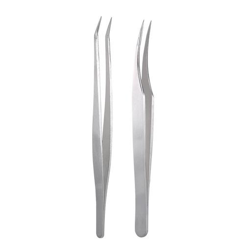 2pcs pinzas de extensión pestaña punta derecho curvo