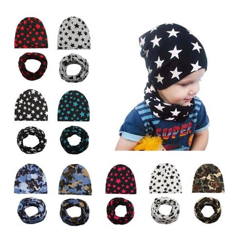 2pcs / set sombrero bufanda infantil bufanda bebé gorros som