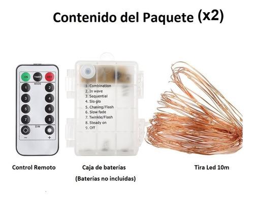 2pz tiras led 10m 100 leds de baterías, con control remo
